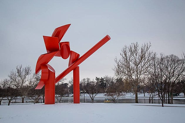 Is Rockford's 'Symbol' Statue Red or Orange?